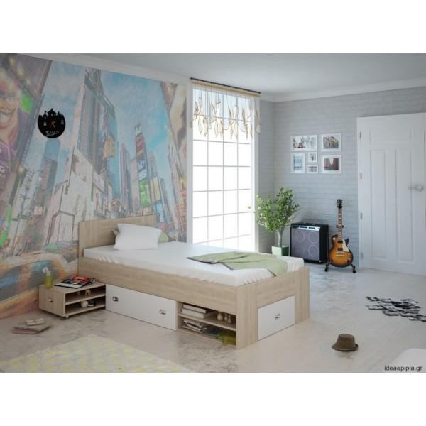Κρεβάτι Bob Sonoma/Λευκό