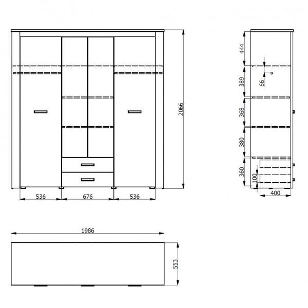 ΝΤΟΥΛΑΠΑ 4ΦΥΛΛΗ KENT 4K2F2O GREY OAK/WHITE OAK 198,5Χ55,5Χ206,5 εκ.