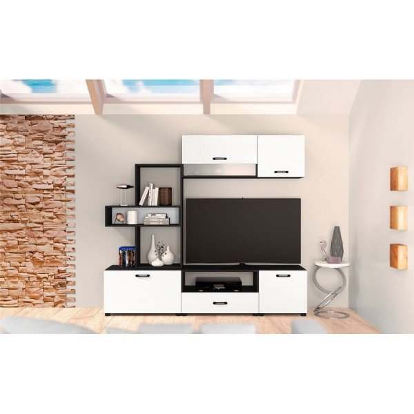 ΣΥΝΘΕΣΗ TV CITY 6030 ΜΑΥΡΟ/ΛΕΥΚΟ 189X43X168 εκ.