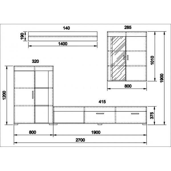 ΣΥΝΘΕΣΗ LAGOON SONOMA/CEMENT 270X42X190 εκ.