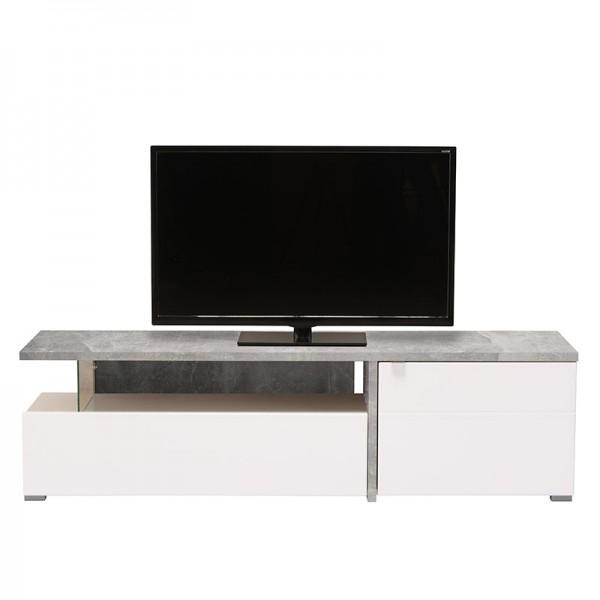 ΈΠΙΠΛΟ TV FORTUNA ΓΚΡΙ CONCRETE-ΛΕΥΚΟ/ΛΕΥΚΗ ΛΑΚΑ 160,5X40X44,5 εκ.