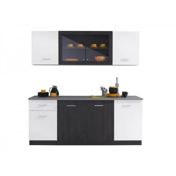 Κουζίνα Helena Black Grey Wood/Λευκό(Λάκα)