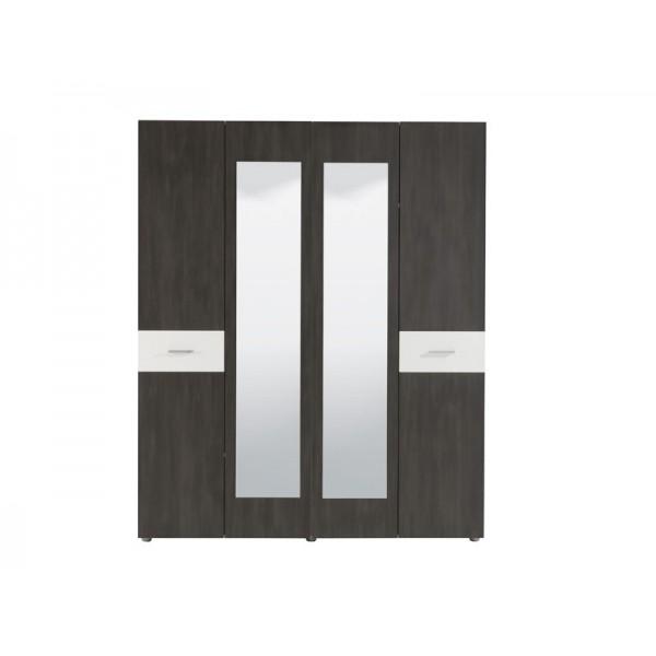 Ντουλάπα 4φυλλη Felix 4K2O Black Grey Wood/Λευκό(Λάκα)