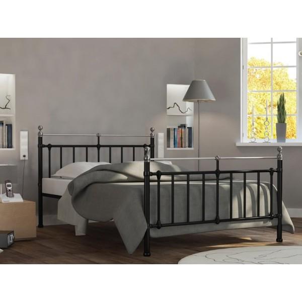 Μεταλλικό κρεβάτι Epoca Μαύρο/Ασημί