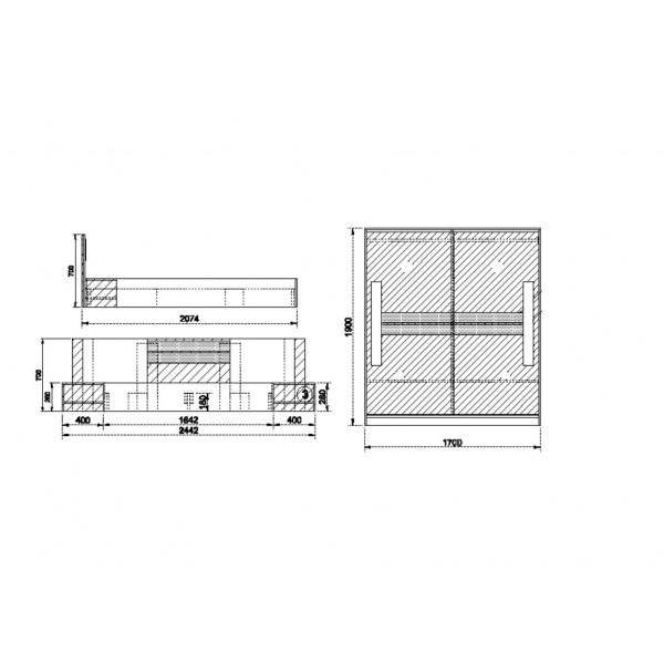 Κρεβατοκάμαρα Gas Wenge/Λευκό -Sonoma