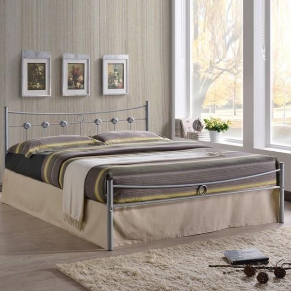 Μεταλλικό Κρεβάτι Dugan Ασημί 150X200 εκ.