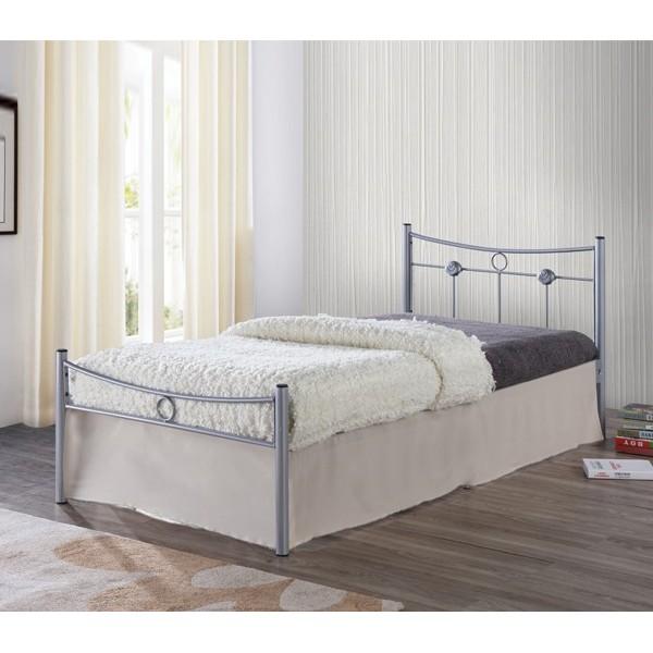 Μεταλλικό Κρεβάτι Dugan Ασημί 90Χ200 εκ.
