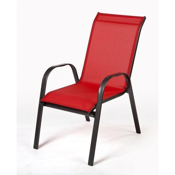 Πολυθρόνα textilene Κόκκινη Steel