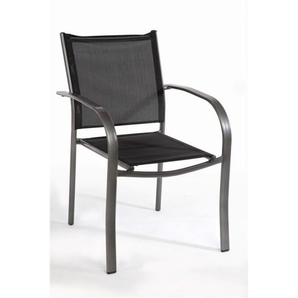Καρέκλα Textilene Μαύρη/Γκρι 341-14-021