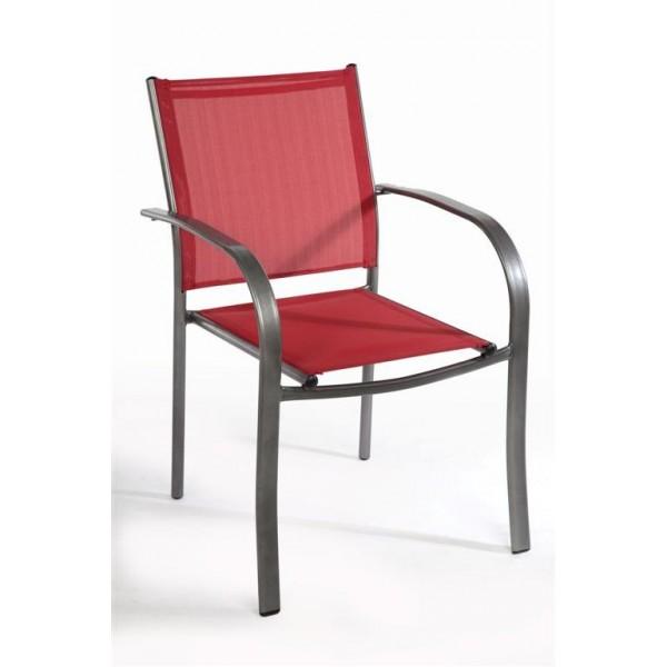 Καρέκλα Textilene Κόκκινη/Γκρι 341-14-023